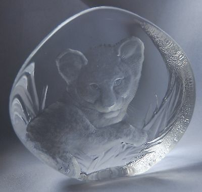 Mats Jonasson Glass Lion Cub Paperweight #3376 - Signed 5""