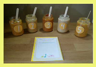 Baby Shower Games - Guess The Baby Food/Jar - Yellow/Neutral 10, 20, 30 players