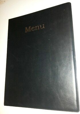 Qty 10 (Ten)A4 Menu Cover/folder In Black Leather Look Pvc With Silver Blocking