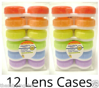 2 x 6-pack CONTACT LENS CASES Left Right Case Replace Monthly Mixed Color Equate