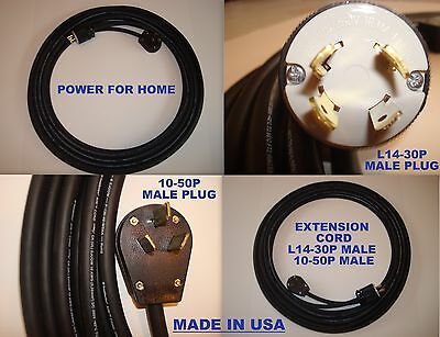 Extension Cord 50 Feet 250 V L14-30 P, 10-50 P, Works Generator To Dryer Outlet