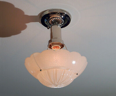 War Era Beaded Chain Ceiling Fixture Vintage Glass Shade with New Custom Fixture • CAD $216.72