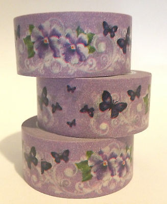 Washi Tape Wide Pansy's & Butterflys 20Mm X 10Mtr Roll Scrap Plan Craft Wrap