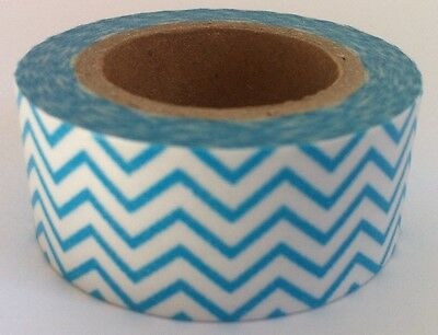 Washi Tape Wide Blue Zigzag 20Mm X 10Mtr Roll Scrap Plan Craft Wrap