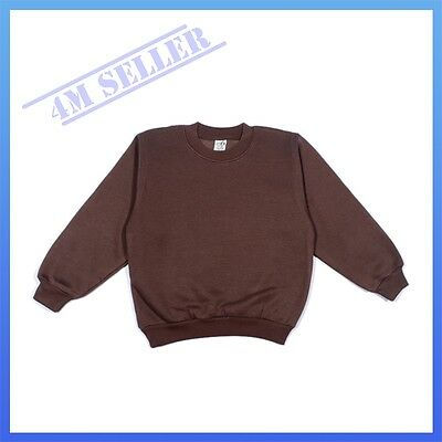 Boys Girls Kids Fleecy Fleece School Wear Uniform Jumper Sz Sweatshirt Brown
