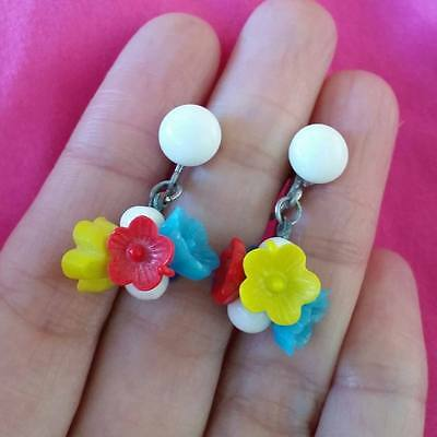 ♡ (752) Antique/Vintage 1930's Milk & Coloured GLASS Screw Earrings signed JAPAN