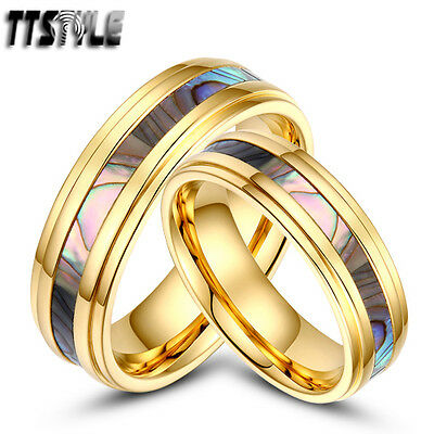 Tstyle 14K Gold GP S.Steel Mother Pearl Engagement Band Ring Set Size 5-14 NEW