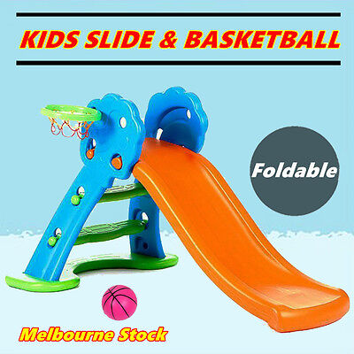 Childrens Toddlers Kids Play Slide & Basketball Hoop Playground Indoor Outdoor