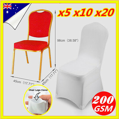 1 5 10 20 50 Lycra Spandex Stretch Chair Cover Wedding Party White Event Banquet