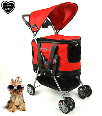 Valentina Valentti Pet Stroller, Pushchair For Pets In Red Colour