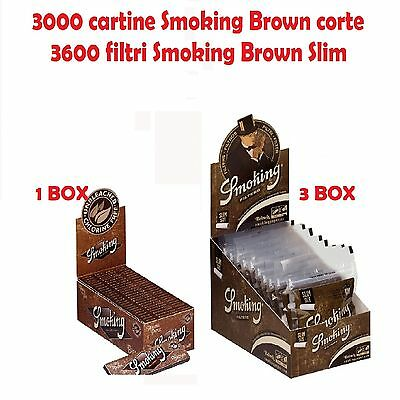 3000 CARTINE SMOKING BROWN CORTE + 3600 FILTRI SMOKING BROWN SLIM 6mm