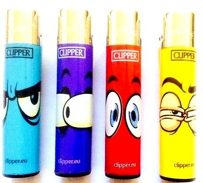 4 x CLIPPER LIGHTERS GENUINE SURPRISE FROWN EYES GAS REFILLABLE FLINT LIGHTER