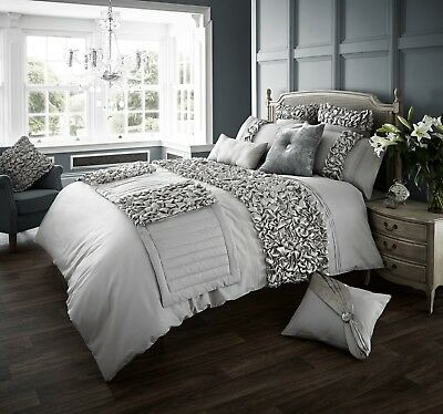 Verina Silver Luxurious Frills Duvet Covers Quilt Covers Bedding Sets / Runners