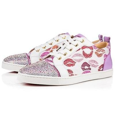48b81a84fcae Christian Louboutin GONDOLASTRASS Crystal Lip Print Low Top Sneakers Shoes   1395