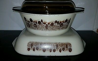 JAJ England Pyrex Ovenproof Baking & Casserole Dish & Lid Brown Forest Pattern