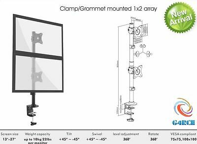 """Dual Computer Monitor Desk Mount Stand Vertical Arrary for 2 Screens up to 27"""""""