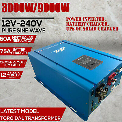 9000W Peak 12V Pure Sine Wave Power Inverter 75A Battery Charger, Mppt Solar