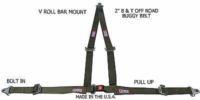 """Rjs Racing 2"""" Buggy Off Road Seat Belt 3 Point B&t V Harness Green 50520 4000111"""