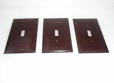 Lot 3 Vtg Bakelite Brown Ribbed Sierra Single Oversized Switch Plate Cover