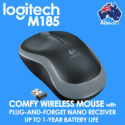 Logitech M185 1000DPI 2.4GHz Wireless Optical Mouse Cordless Long Life Laptop PC