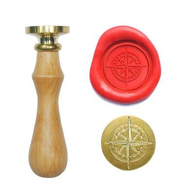 UNIQOOO Arts and Crafts Vintage Brass Star Cross Compass Wax Sealing Seal Stamp