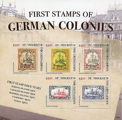 St Vincent & The Grenadines 2015 MNH First Stamps German Colonies 5v M/S II