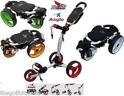 Axglo Trilite 3 Wheel Golf Trolley Pull Push10 Colours Cover & Umbrella Hiolder