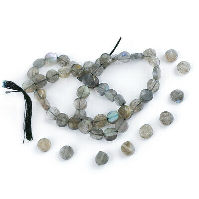 Strand Of 52+ Grey Labradorite Approx 6-7mm Handcut Coin Beads DW1235