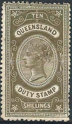 QUEENSLAND 1892 POSTAL FISCAL Long Type 10/- Brown ACSC F20 cv$1850 fine mint