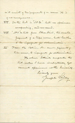 Joseph Leidy - Autograph Document Signed 01/11/1885