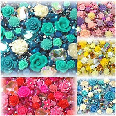 Assorted Flower & Jewel Decoden Kits - Cabochons Rhinestones Pearls FREE UK P&P!