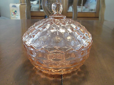 Indiana Glass Pink Glass Candy Dish American Whitehall Pattern Cubist