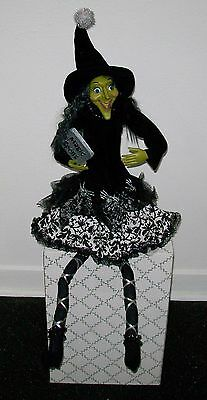 """Collectible Green Face Witch Book Magic Spells  Halloween 32"""" Shelf Sitter Doll"""
