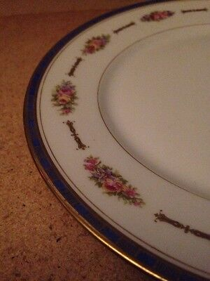 4 LIMOGES France WG&Co Wm GUERIN Pink Floral w Gold Paint Roses Bread Plates