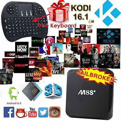 M8S+ Android 6.0 TV Box 4 Core KODI 16.1 Fully Loaded 4K Movies Network Streamer