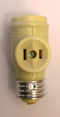 GE Polarized Screw-in 2 Outlet Light Bulb Socket Adapter - Ivory