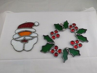 Set Of 2 Stained Glass Sun Catcher Art Decorations Christmas Wreath Santa 3Bbb