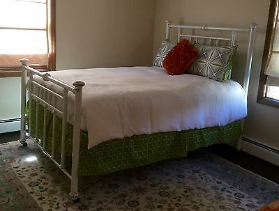Antique Victorian Iron And Brass Bed Full Size