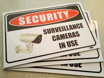 Security Surveillance Cameras In Use Pack 3 Metal Signs 300x225mm Free Post