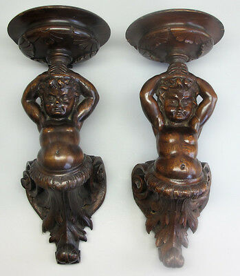Fine & Large Pair of Mid-19th C. CARVED WOOD Wall Sconces w/ PUTTI  c. 1860