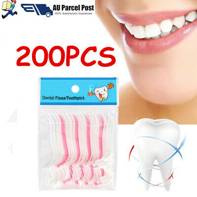 Dental Floss Picks Waxed Teeth Toothpicks Stick Flossers Sword Oral Care 200PCS