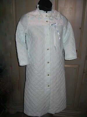 Girls Blue Her Majesty Quilted Full Length HouseCoat Robe Dainty Feminine Size 7