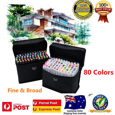 80pcs Set Double Ended Alcohol Graphic Art Twin Tip Pen Broad Fine Point Marker
