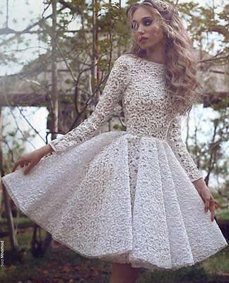 New Vintage Short  Wedding Dresses Lace Appliques Bridal Gowns Custom Made