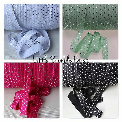 Foe 5/8 Fold Over Elastic By The Metre - Silver Foil Dots