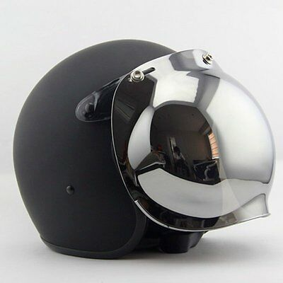 Bubble 3-Snap Helmet Visor Flip Up Face Shield Lens For Open Face Motorcycle