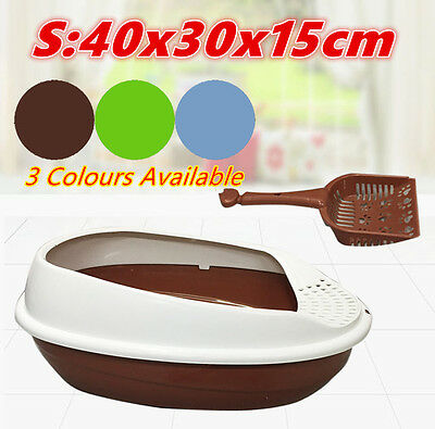 S Cat Pet Toilet Litter Training Tray Portable Hooded House Handle Scoop Box