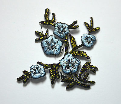 BLUE FLOWER PLANT TRIMMING Embroidered Sew Iron On Cloth Patch Badge APPLIQUE