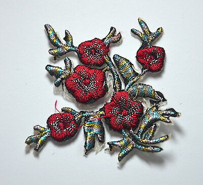 RED ROSE FLOWER TRIMMING Embroidered Sew Iron On Cloth Patch Badge APPLIQUE