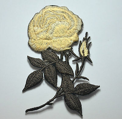 CREAM ROSE FLOWER TRIMMING Embroidered Sew Iron On Cloth Patch Badge APPLIQUE